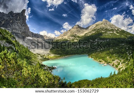 Lago di Sorapiss - Beautiful color of the mountain lake - Dolomite Alps.