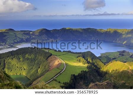 Lagoa de Santiago and Lagoa Azul on San Miguel island of Azores - stock photo