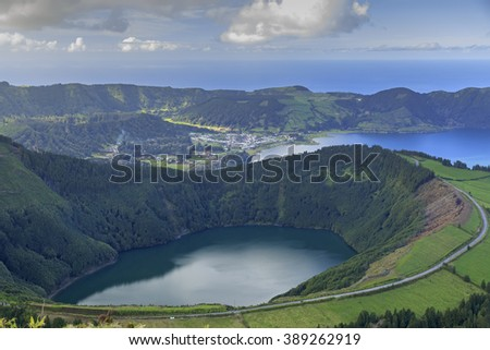 Lagoa de Santiago and Lagoa Azul on San Miguel island of Azores, panorama - stock photo