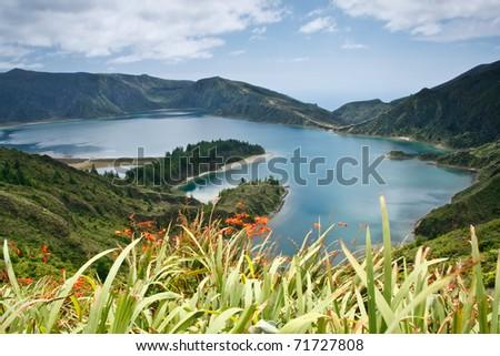 Lagoa do Fogo, a volcanic lake in Sao Miguel island, Azores - stock photo