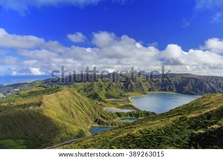 Lagoa do Fogo and green valley on San Miguel island of Azores - stock photo