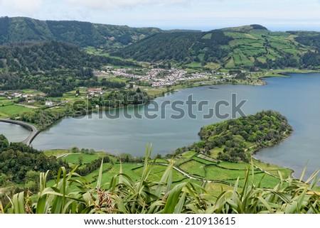 Lagoa Sete Cidades on Azores in Portugal - stock photo