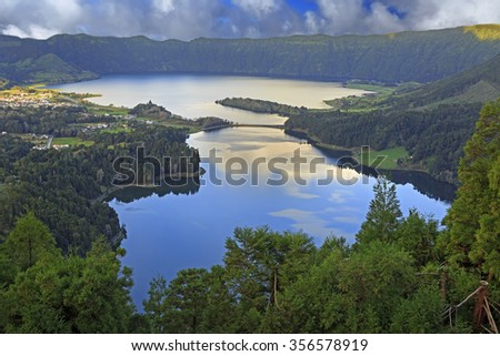 Lagoa Verde and Lagoa Azul on San Miguel island of Azores