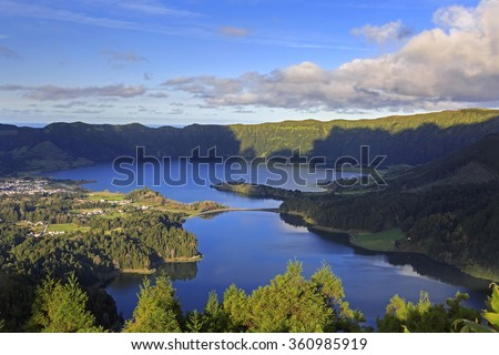 Lagoa Verde and Lagoa Azul on San Miguel island of Azores - stock photo