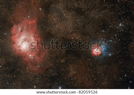 Lagoon and Trifd Nebulae