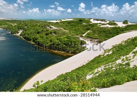 Lagoon Genipabu near Natal, North East of  Brazil - stock photo