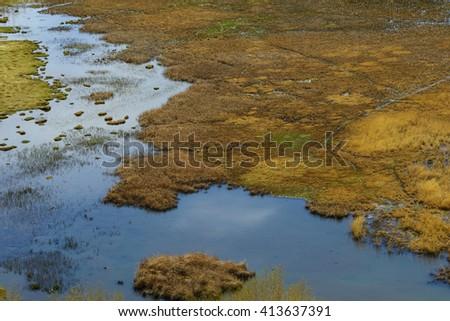 Lagoon landscape of bird aerial view - stock photo