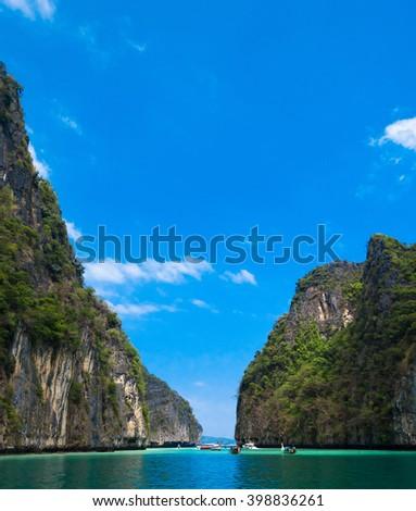 Lagoon Mountains Blue Seascape  - stock photo