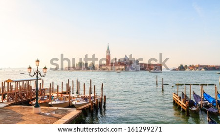 Lagoon of Venice with View on San Giorgio. Picturesque Morning Picture with an amazing view on the lagoon of the stone city of Venice in Italy