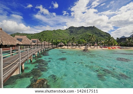 Lagoon on Island of Moorea, Tahiti,  French Polynesia - stock photo