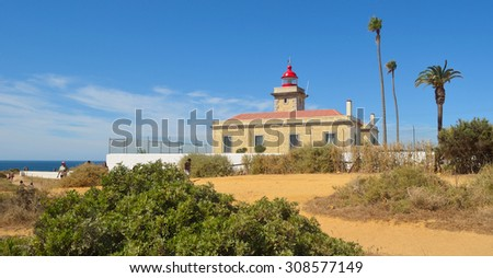 LAGOS, ALGARVE, PORTUGAL - AUGUST 14, 2015: The lighthouse at Lagos Western Algarve Portugal.