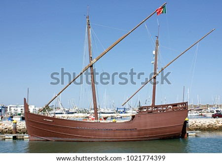 LAGOS, PORTUGAL, JULY 18TH 2016: CARAVELA BOA ESPERANCA. replica of a XVth century Portuguese ship, moored on the harbour in Marina de Lagos.