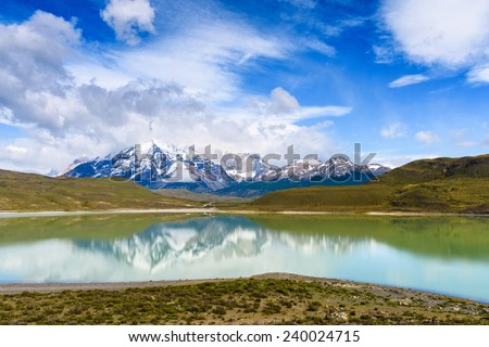 Laguna Amarga in the Torres del Paine National Park, Patagonia, Chile - stock photo