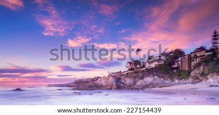 Laguna Beach, California at sunset - stock photo