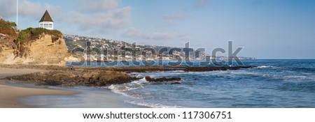 Laguna Beach Panorama. Panorama of the shore line of Laguna Beach, California, USA. - stock photo
