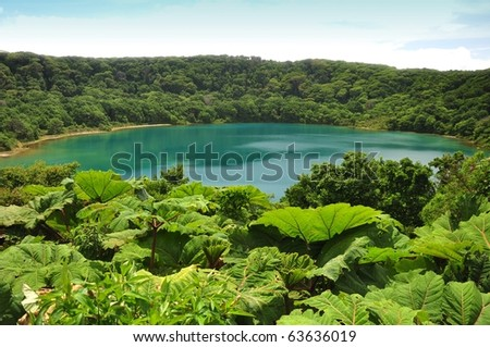 Laguna Botos, a Blue Lake in Poas National Park of Costa Rica - stock photo