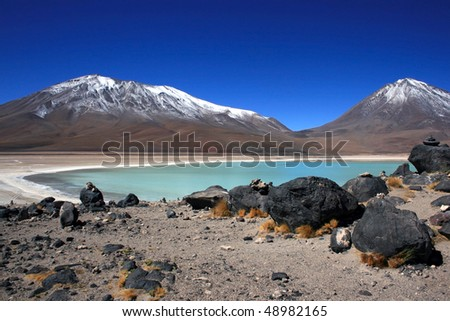 Laguna Verde (Green Lagune) and volcanoes in the Andes of Bolivia, South America