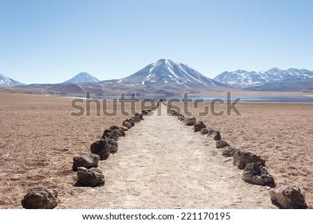 Lagunas Miscanti and Meniques in Atacama desert - stock photo