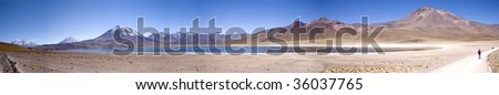 lagunas Miscanti and Meniques in Atacama desert near Andes - stock photo