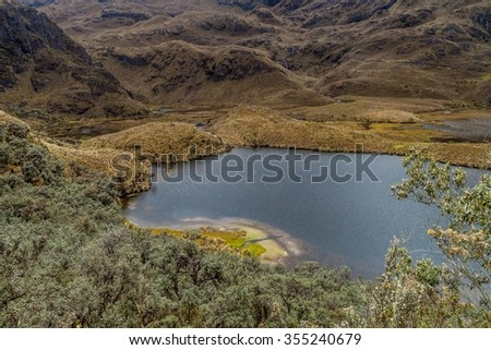 Lagunas Unidas lakes in National Park Cajas, Ecuador - stock photo