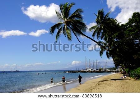 Lahaina Beach with Lahaina Boat Harbor in background, Maui Hawaii - stock photo