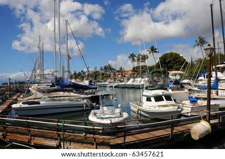 Lahaina Boat Harbor, Maui Hawaii - stock photo