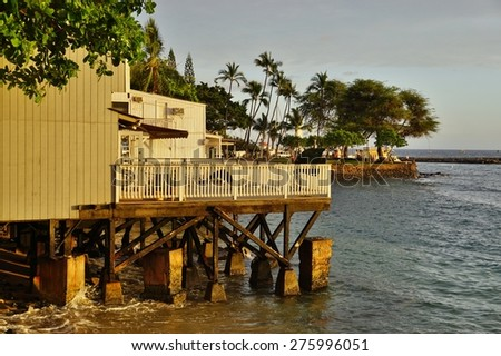 LAHAINA, HI -1 APRIL 2015- The former missionary town of Lahaina, now a main tourist attraction on Maui, was the capital of Hawaii before Honolulu and a center of the global whaling industry. - stock photo