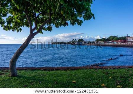 Lahaina seafront in Maui, Hawaii, USA - stock photo