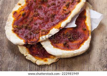 lahmacun on a wooden board
