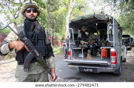 LAHORE, PAKISTAN - MAY 19: Punjab Ranger cordon off area around Qaddafi Stadium of Lahore to maintain security as the Zimbabwean Cricket Team has been arrive Lahore.