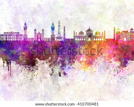 Lahore skyline in watercolor background - stock photo