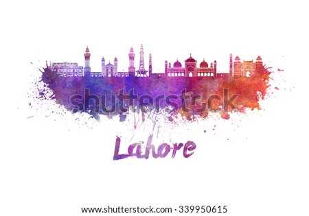 Lahore skyline in watercolor splatters with clipping path - stock photo