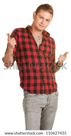 Laid back male with fingers pointed over white background - stock photo