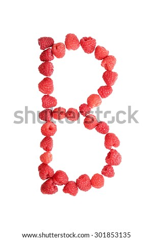 Laid ripe red raspberries letter B isolated on white background - stock photo