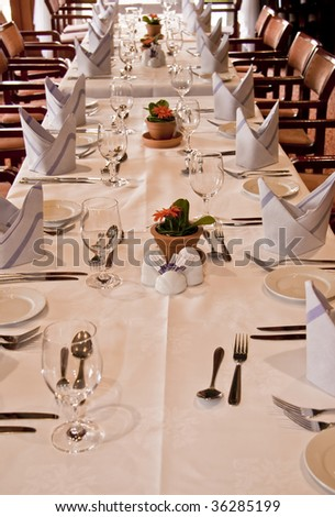 laid table - stock photo