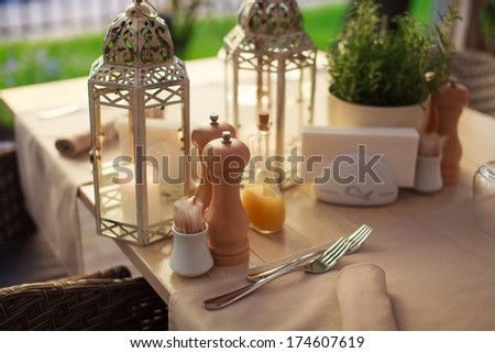 Laid table in a resturant. - stock photo