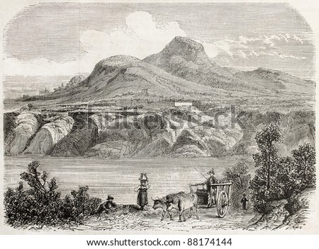 Lake Albano old view, Rome surroundings. By unidentified author, published on L'Illustration, Journal Universel, Paris, 1860 - stock photo