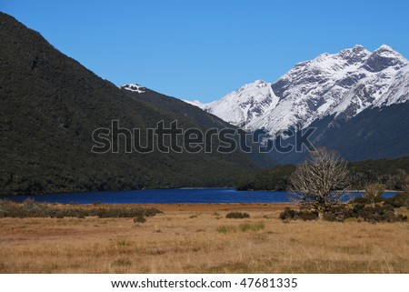 Lake along Caples Track, New Zealand - stock photo