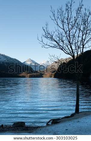 Lake Alpsee, in Winter, near Schwangau, Germany