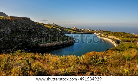 Lake and Dam on a Ravine in Tenerife Canary Islands Spain