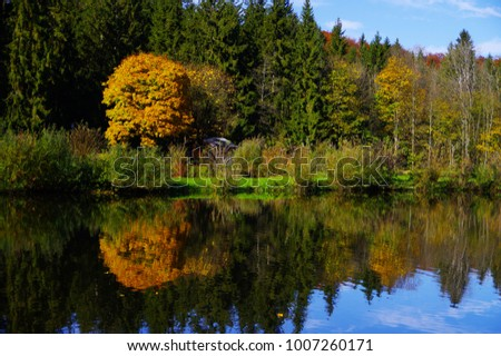 Lake and forest with bright autumnal Colors,