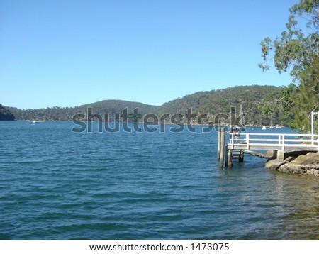 lake and jetty - stock photo