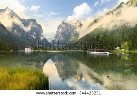 lake and mountain mystic scenery for travel destination  - stock photo