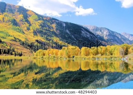 Lake and Mountain scenery in the Autumn - stock photo