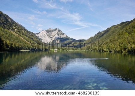 Lake and mountains at the wonderful Vorderer Langbathsee in Salzkammergut, Austria