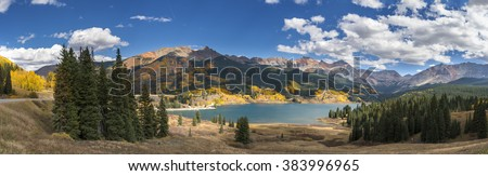 Lake and mountains of Colorado panorama - stock photo