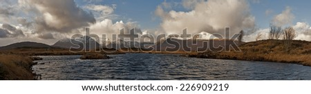 Lake and mountains of Rannoch Moor in winter, Scotland - stock photo
