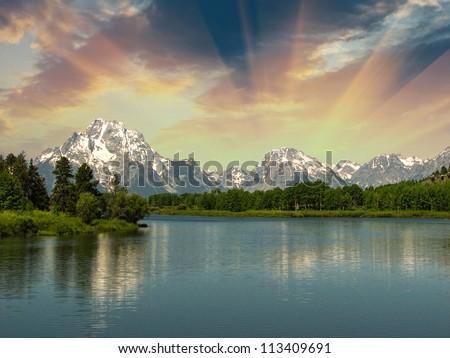 Lake and Mountains of United States - Wyoming - stock photo