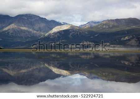 Lake and mountains reflecting