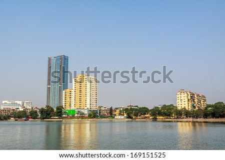 Lake and skyscraper in Hanoi, Vietnam